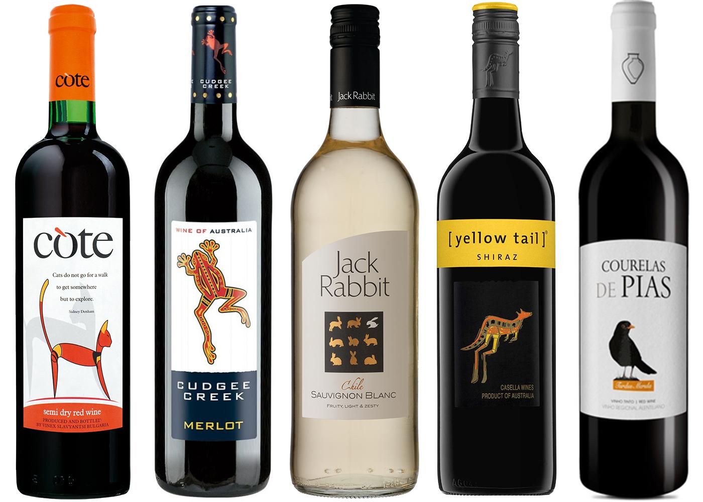 Wina ze zwierzętami na etykietach.