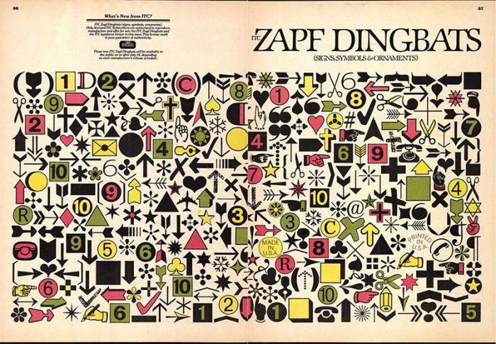 """Premiera Zapf Dingbats odbyła się na łamach kultowego typograficznego czasopisma """"U&Lc"""" (Numer 5–2)."""