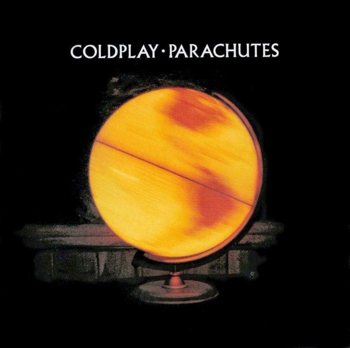 "Coldplay ""Parachutes"". Okładka wykorzystuje krój Albertus."